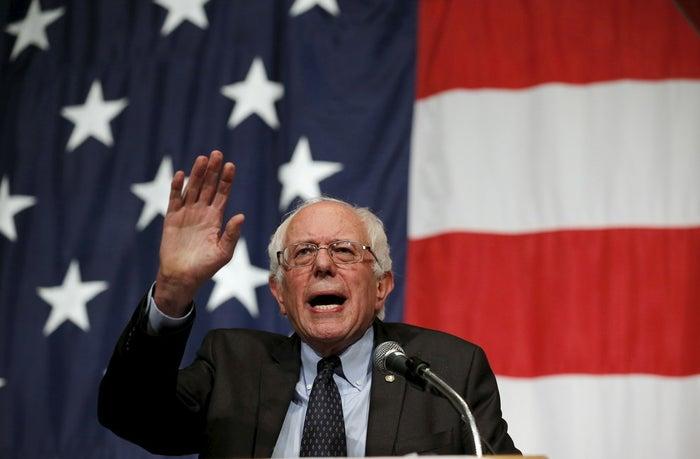US Democratic presidential candidate Bernie Sanders speaks in Iowa.