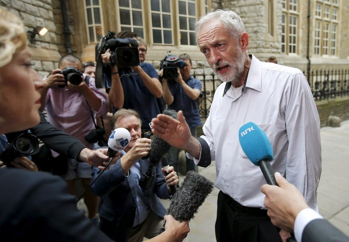Labour party leadership candidate Jeremy Corbyn talks to waiting media in Ealing.