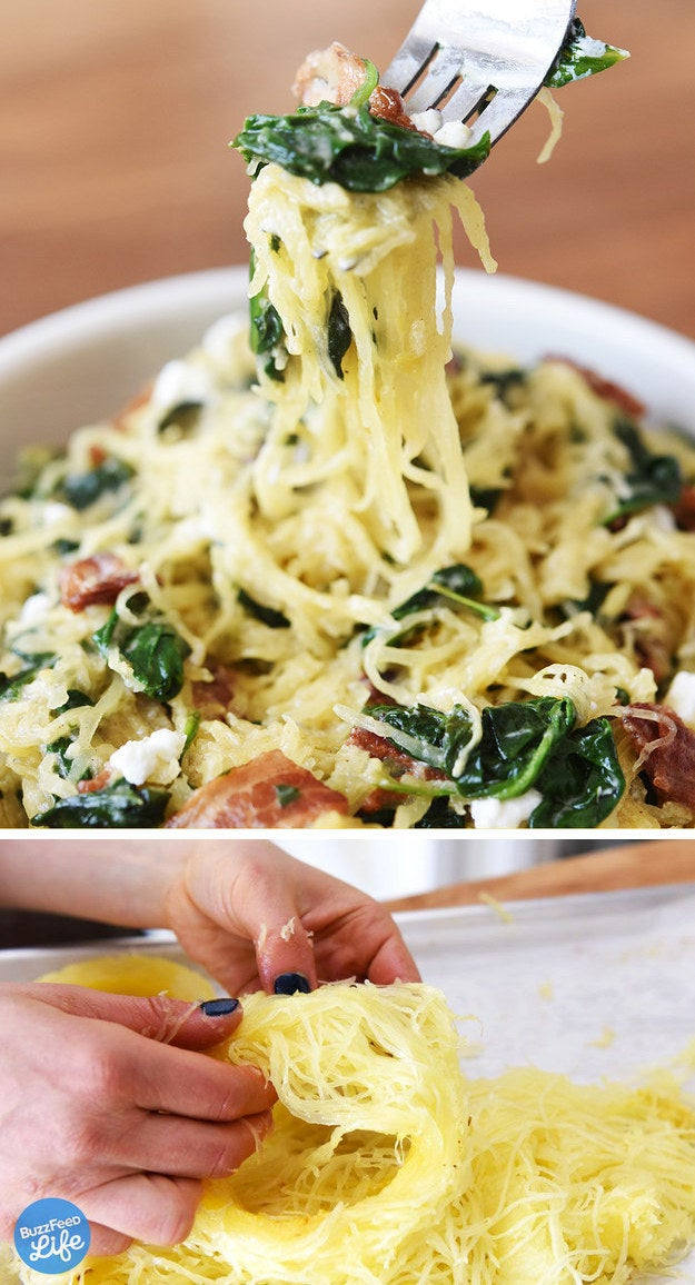 Often, spaghetti squash can be overcooked and water-logged. Slicing it into rings and roasting it that way is a game-changer, and makes a good base for almost any sauce.Recipe: Spaghetti Squash with Bacon, Spinach, and Goat Cheese