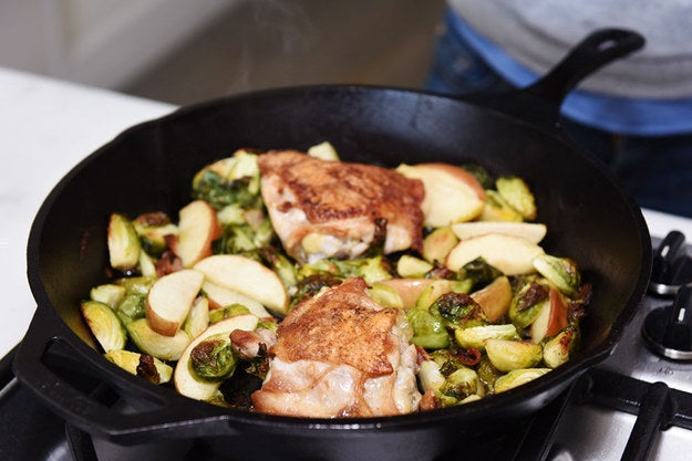 The best thing about skin-on chicken thighs is that you can render the skin a little on the stovetop, then use that fat to coat vegetables in the same skillet and roast the whole thing together in the oven. Master this basic recipe, then sub in your favorite vegetables.Recipe: Single-Skillet Chicken Thighs with Bacon, Brussels Sprouts, and Apples