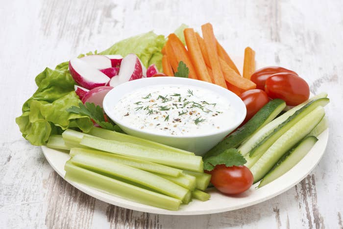 Kicking off our list are the tried-and-true favorites -- the dip veterans themselves: celery, carrots, zucchini, and cherry tomatoes. Let's just get all the healthy goodness out of the way, shall we?