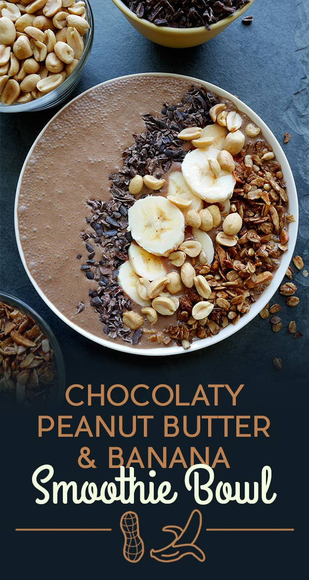 To make the smoothie, blend almond milk, banana, ice, peanut butter, cocoa powder, vanilla extract, and maple syrup. The toppings are banana, cocoa nibs, granola, and peanuts.Look for cocoa nibs in the baking aisle of your supermarket. Get the recipe at the bottom of the post.