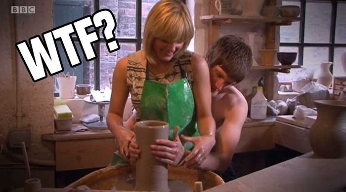 Jade and Levi here are going to be our subjects. Because they are from Stoke, which is famous for its potteries, they are pretending to make a pot, which has almost certainly already been made earlier by an expert.Also, for some reason, Levi isn't wearing a shirt.