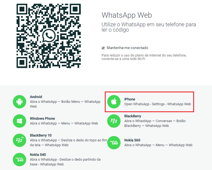 O WhatsApp web está sendo liberado aos poucos para os telefones da Apple. Além do Android, celulares com Windows Phone, BlackBerry 10 e alguns celulares da Nokia já podiam acessar o WhatsApp pelo computador.