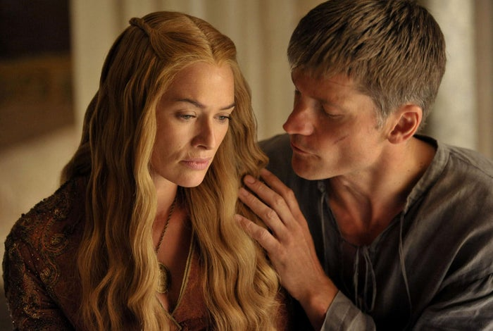 Now no one can say that Jaime and Cersei don't love each other. Most people will probably tell you that they love each other too much. They both care for each other and are no stranger to showing those affections...while in bed together. Yeah, this brother/sister duo took it to that level of intimacy. Say what you will but Jaime will do anything for Cersei. He even pushed a boy out a window when he saw Cersei and him having sex.