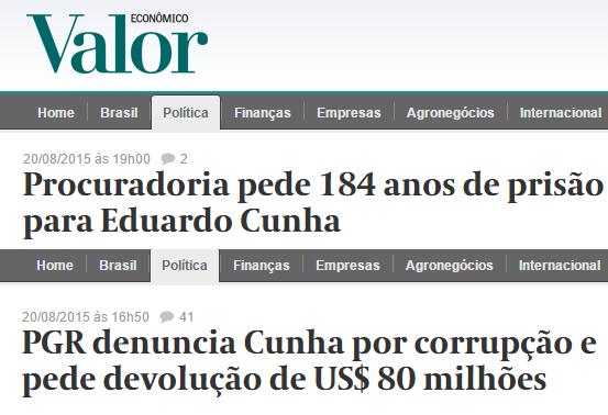 """Janot apresentou na quinta-feira STF (Supremo Tribunal Federal) denúncias contra Cunha por suposto envolvimento no esquema de corrupção na Petrobras investigado pela Operação Lava Jato. A Procuradoria pediu que Cunha devolva US$ 80 milhões – US$ 40 milhões que foram supostamente desviados e mais US$ 40 milhões por reparação de danos. Isso dá mais de R$ 270 milhões na cotação ideal. O presidente da Câmara se diz """"inocente""""."""