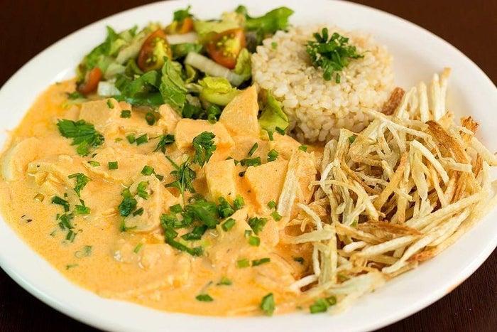 This vegan take on classic Brazilian stroganoff, is served at Rio Vegano in Rio de Janeiro.