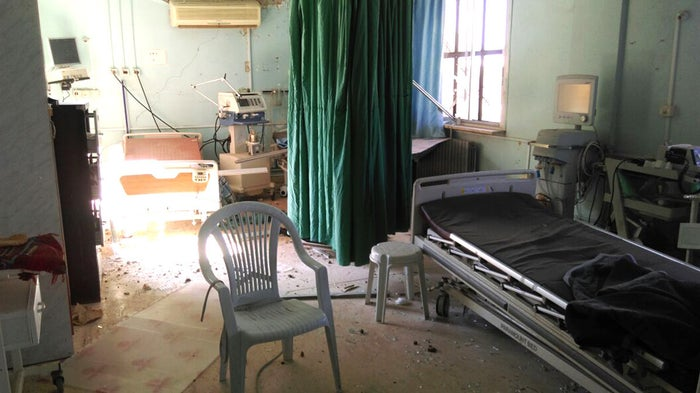 A hospital room in the southern province of Daraa is seen destroyed after an attack by Syrian government forces in June.