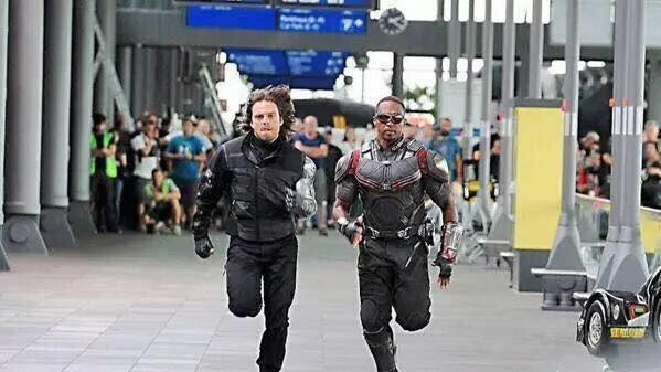 "This week, Marvel Studios released an image of Sebastian Stan (the Winter Soldier/Bucky Barnes) and Anthony Mackie (Sam Wilson/Falcon) running through the set of ""Captain America: Civil War,"" which finished filming on Saturday."