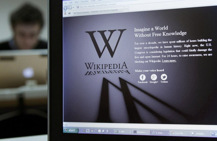 Wikipedia blacked out its homepage in response to proposed Congressional legislation on online piracy in 2012.