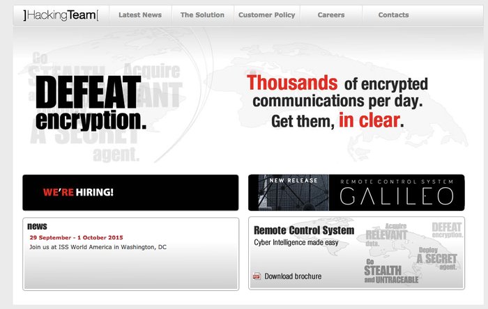 Hacking Team's website as of Aug. 24
