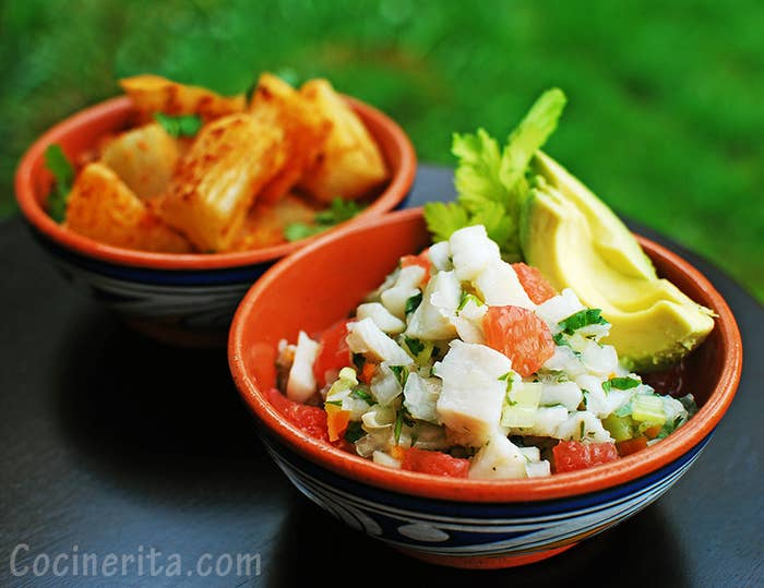 There's Corvina (seabass), sole, cod, octopus, shrimp, calamari, mixed seafood, even pixbae ceviche nowadays! In most places you will find these prepared with lime juice, cilantro, celery, onions, and ají chombo, There are a lot of gourmet versions and I personally like to add citrus fruits, avocado and tomatoes!