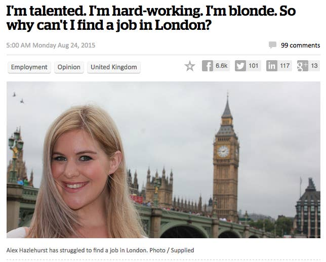 a new zealand woman who wrote about her struggles getting a job in london has now reportedly seen an influx of job offers