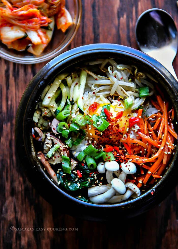 A great, at-home spin on traditional Korean bibimbap. Recipe here.