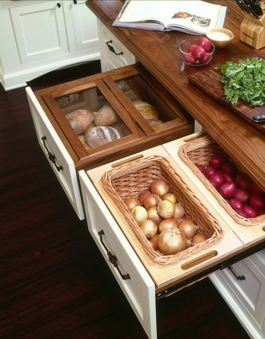 Use pull-out drawers for all your bread and root veggies.