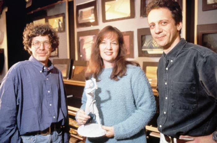 Prince of Egypt directors Steve Hickner, Brenda Chapman, and Simon Wells, 1998.