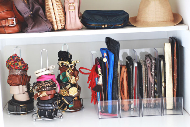 Keep your belts organized with paper towel holders.