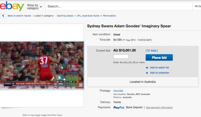 """Someone Is Selling An """"Adam Goodes Imaginary Spear"""" On eBay"""