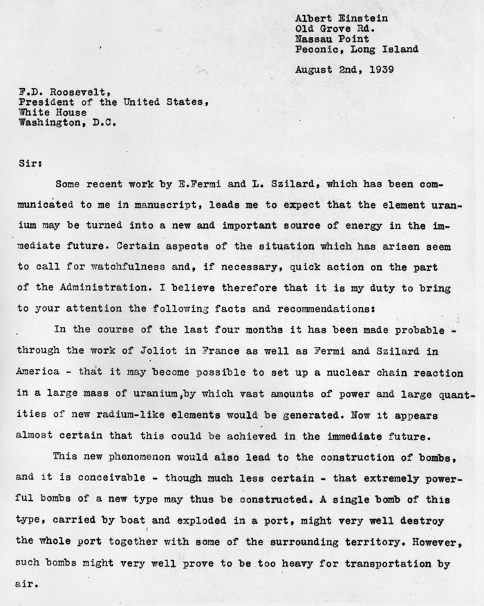 "Physicist Albert Einstein writes a letter to President Franklin D. Roosevelt raising the possibility that Germany could build an atomic bomb. The letter led to America building an atomic bomb in what was known as the top-secret ""Manhattan Project."""