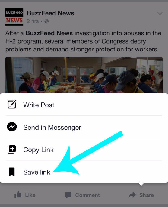 Use Facebook's built-in read-it-later bookmark feature.