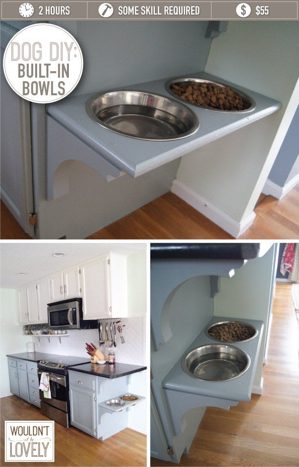 This awesome design allows for elevated food bowls, so you don't have to worry about kicking them over! Find the full tutorial here.