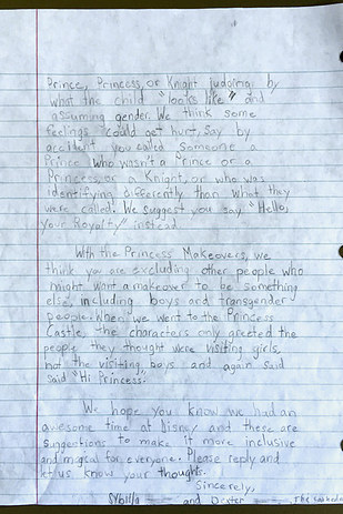third grade classmate sybilla who had also noticed many of the same problems during her visit to disneyland decided to write disney an open letter