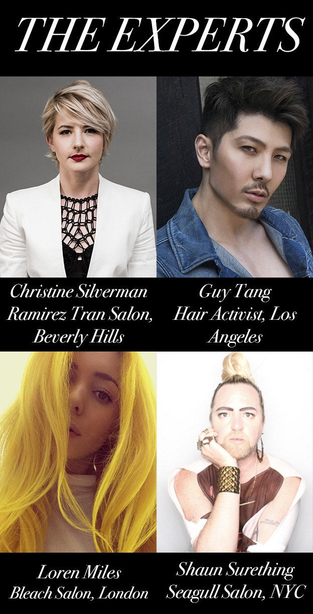 Anyone who colors their hair knows that it can be hella confusing (not to mention time-consuming and pricey). So we decided to get some professional advice on how to make the dyed life more easy and understandable. Our experts are...- Christine Silverman, colorist at Ramirez Tran, a top Beverly Hills salon.- Guy Tang, a hair activist, celeb stylist and YouTube personality who has gained a cult following for his informational hair dye videos.- Loren Miles, a hairstylist at Bleach in London, which specializes in beautiful, punky colors.- Shaun Surething, lead stylist and co-owner of the famed Seagull Salon in Manhattan's West Village.