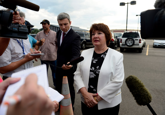 """A juror who only wanted to be identified as """"Juror 17"""" talks with the media in the parking lot of the courthouse after the conclusion of the trial."""