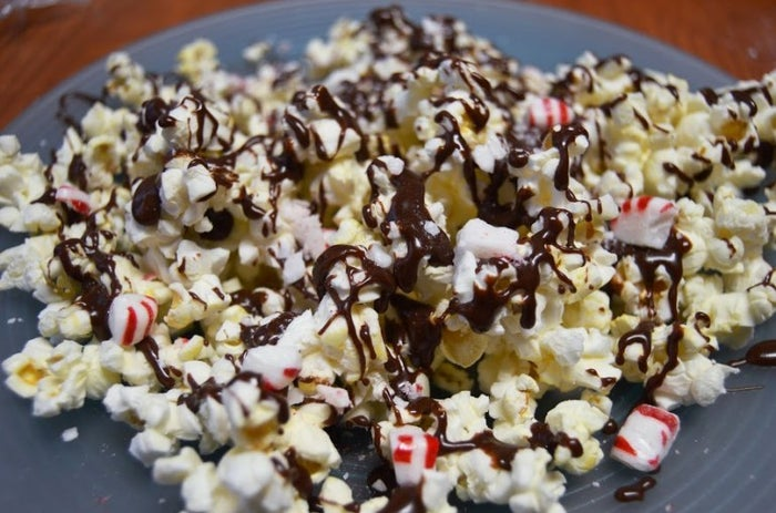 Whoever thought of combining dark chocolate and peppermint is a genius, but imagine that rich peppermint bark drizzled over some crunchy and salty popcorn. Recipe here.