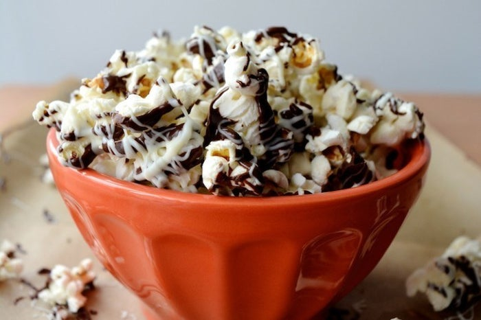 The crunchy kernels with smooth chocolate and PB make this a perfect munchie to pair with basically any movie. Recipe here.