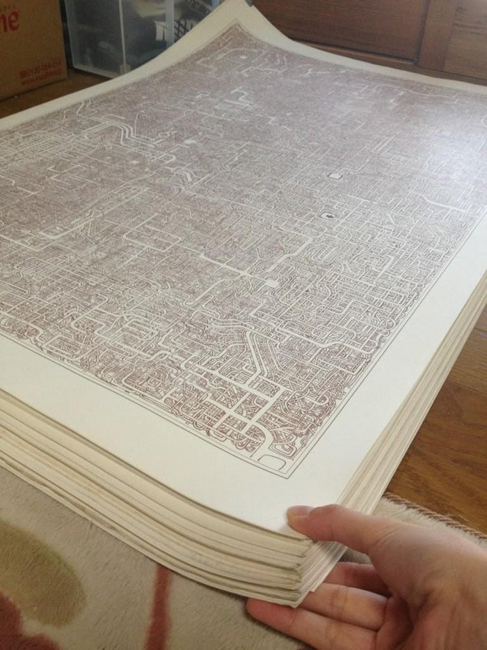 This maze is on a sheet of A1 paper that measures approximately 35 inches by 23.3 inches. The daughter mentioned via Twitter that she has 50 copies of the maze, but wasn't sure how they were printed, but thought they were done using printing tech that isn't really used today. And apparently there is another maze too.