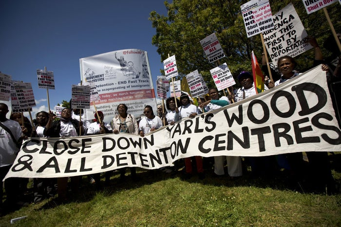 Activists protest for the closure of Yarl's Wood.