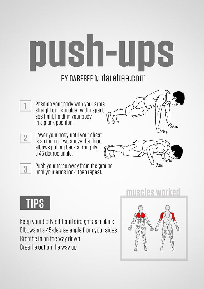 Once you master the push-up (or even a less challenging version of a push-up like an elevated push-up or push-up off your knees), do this intense two-move workout that will make you burn all over.