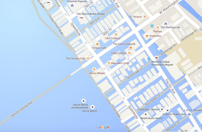 A screenshot of Google Maps shows Venice Beach, California, underwater.