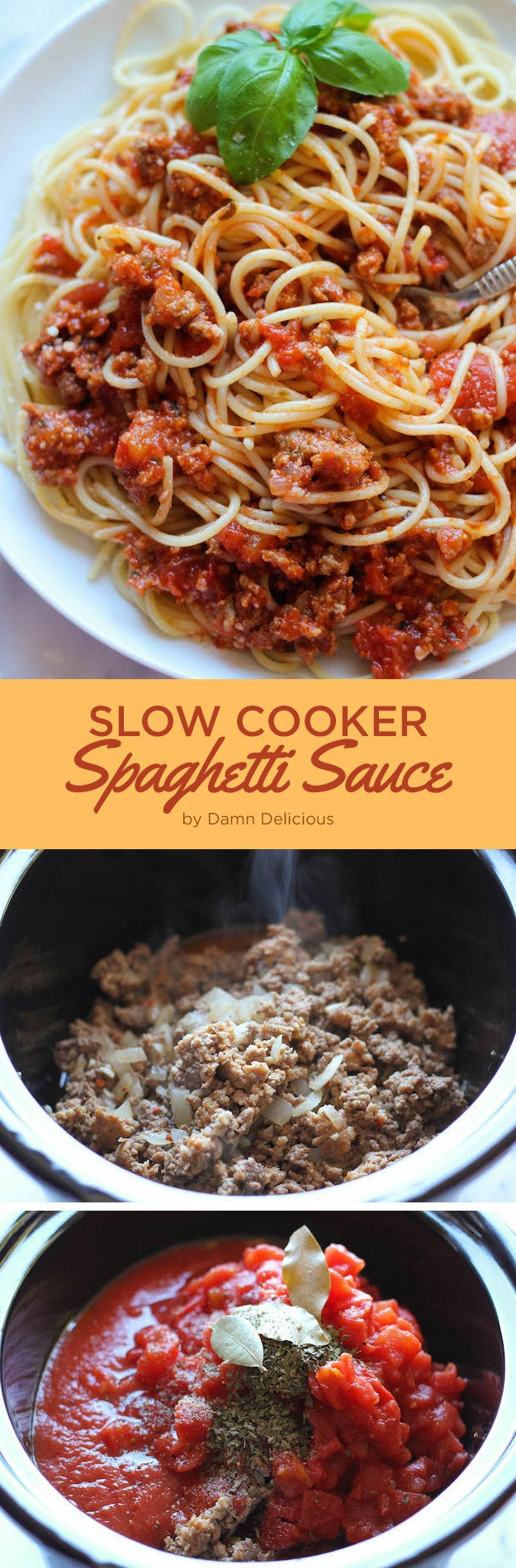 Get this into the slow cooker in the morning so that all you have to do at dinnertime is cook the pasta. Get the recipe.