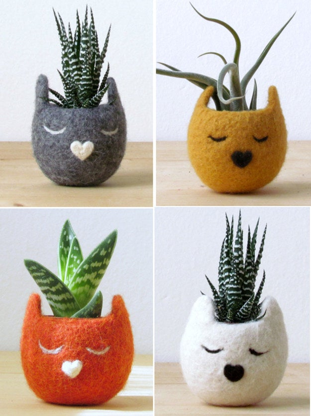 Find Mini Hand-felted Cat Head Succulent Vases here.