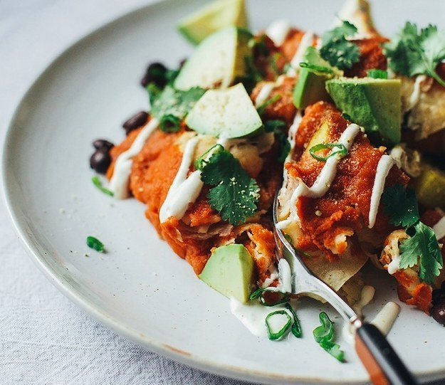 Why Now Is The Right Time For Colorful Autumn Vegan Recipes-Cosy Vegan Enchiladas with Lime Cream
