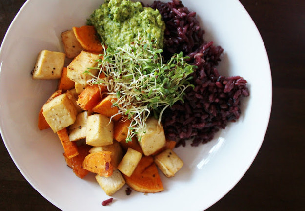 Why Now Is The Right Time For Colorful Autumn Vegan Recipes-Baked Yam and Tofu With Purple Rice, Kale Pesto & Sprouts