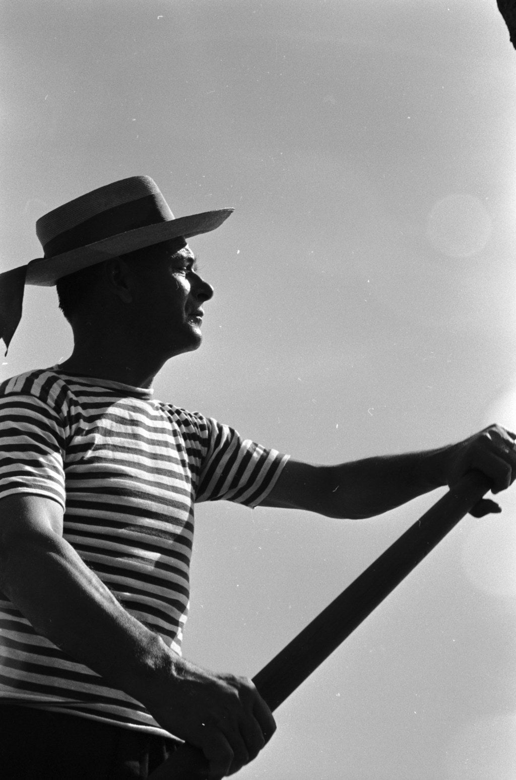 A gondolier plies his trade. Circa 1955.