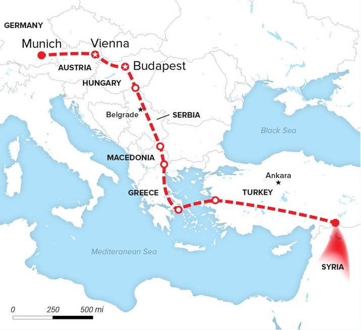 Here is the long route many refugees take to travel from syria to please note this is not the precise routea unicef spokesperson told buzzfeed news gumiabroncs