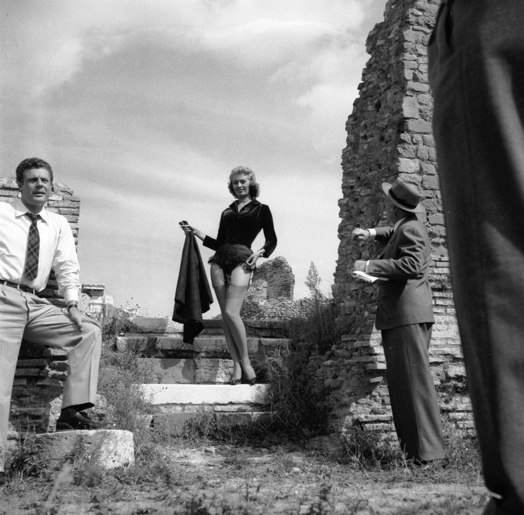 Sophia Loren on location at Ostia Antica for the filming of 'La Fortuna di Essere Donna'. 1955.