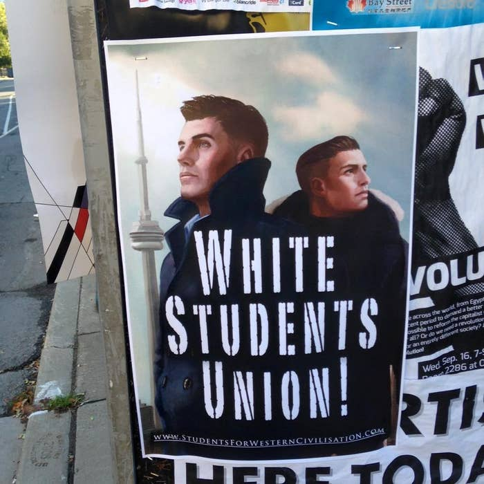 Photos of the posters published online show an illustration of two white men in front of the CN Tower. There is no information about who is behind the campaign other than a web address for Students for Western Civilisation, a website registered anonymously in 2013.