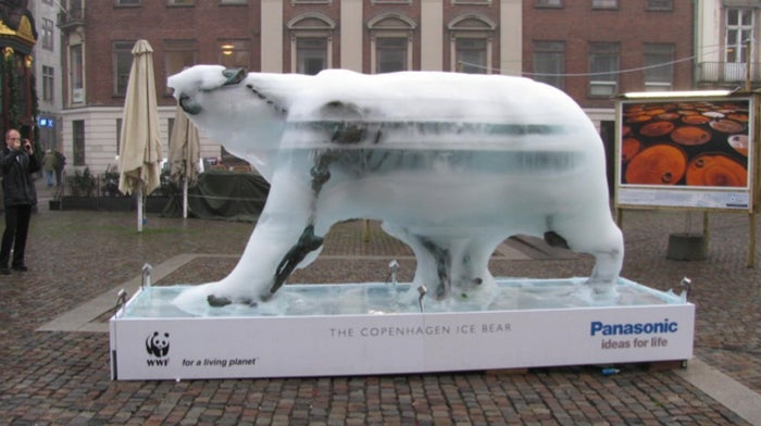 The sculpted polar bear gradually melted in the shadow of Copenhagen's Bella Center where world leaders met for the climate conference back in 2009.Sculptor Mark Coreth said he was inspired to create the bear during an expedition to the Baffin Island sea-ice in northern Canada where he saw first-hand the impact of a warming world on these fragile ecosystems.