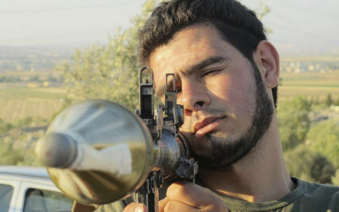 A member of Free Syrian Army training in 2012.