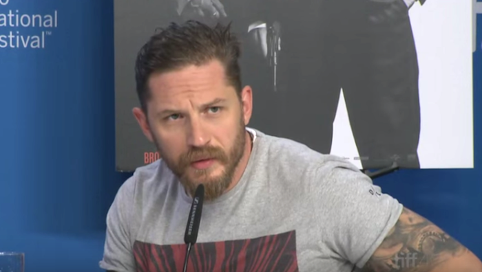 """The question was due to previous reports about Hardy's own """"ambiguous"""" love life and the fact he plays Ronnie Kray in the movie, who was bisexual."""