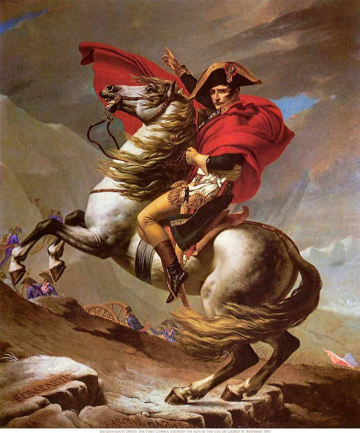 Jacques Louis David's painting Crossing the Alps