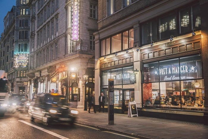 It's one of three Prets in about a one-mile stretch, and we stomp up and down the Strand, peering in each Pret's window until we find the right one. We feel a bit less stupid when we realise that The Observer also got mixed up when they visited.