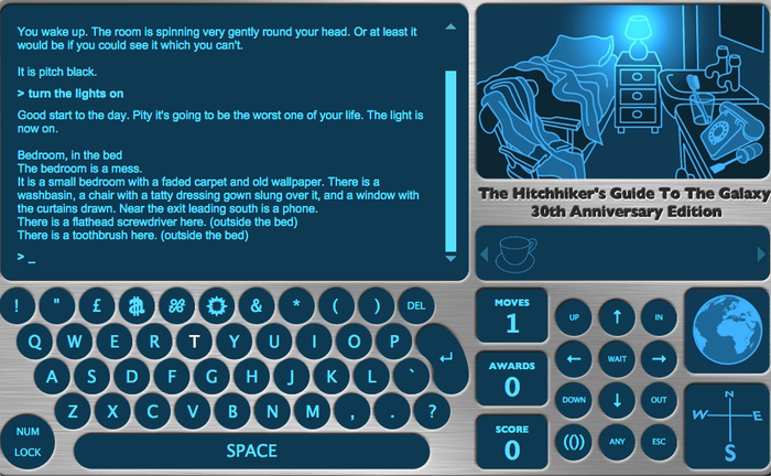This text-based role-playing game based on The Hitchhiker's Guide to the Galaxy is really hard. Like really hard. I have been playing this game on and off for a couple of years, and have yet to get past the first spaceship. Despite how tricky it is, it's tremendously funny, seldom literal, and a must for all towel-remembers. Play it here.
