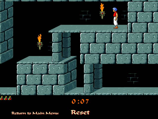 Jump! Climb! Kill the baddies! Save the princess! Play this classic game online for free, but remember to turn off the sound, or put headphones in. Not only is the soundtrack a little bit tinny, the sword swipes make a lot of noise.Play it here.