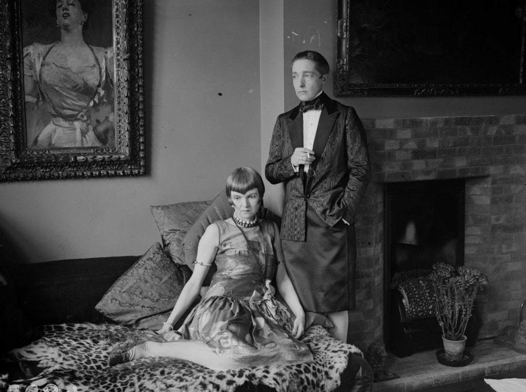 Marguerite Radclyffe Hall, the prizewinning writer of 'The Well of Loneliness,' with Lady Una Trowbridge. August 1927